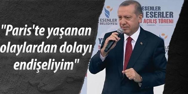 Cumhurba�kan� Erdo�an,Paris`te ya�anan olaylardan dolay� endi�eliyim