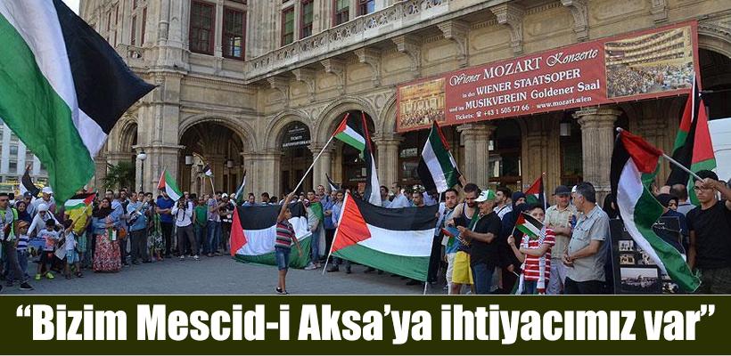 Mescid-i Aksa`ya yönelik ihlalleri Avusturya`da protesto edildi