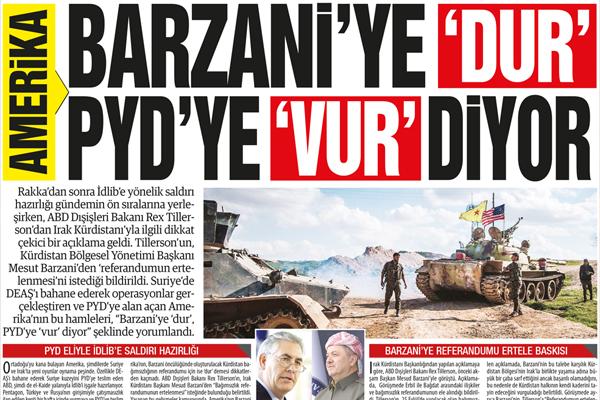 ABD BARZANİ'YE 'DUR'  PYD'YE 'VUR' DİYOR