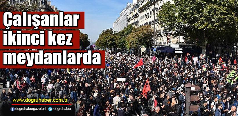 Fransa`da çalışanlar ikinci kez meydanlara indi