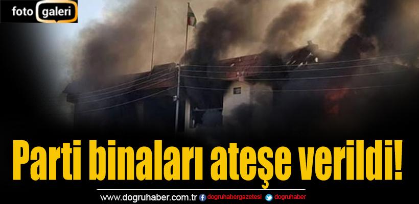 IKBY`deki gösterilerde parti merkezleri ateşe verildi