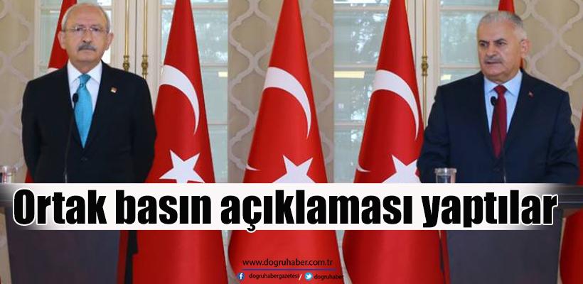 Başbakan Yıldırım ve Kılıçdaroğlu`ndan ortak açıklama