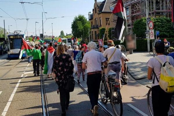 Amsterdam`da siyonist teröre karşı yürüyüş