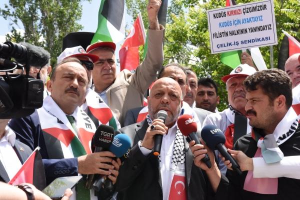 HAK-İŞ, israil ve abd'yi protesto etti