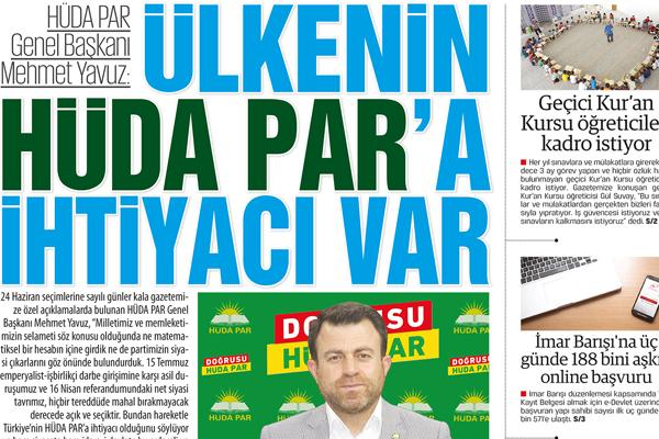 Mehmet Yavuz: ÜLKENİN HÜDA PAR'A İHTİYACI VAR