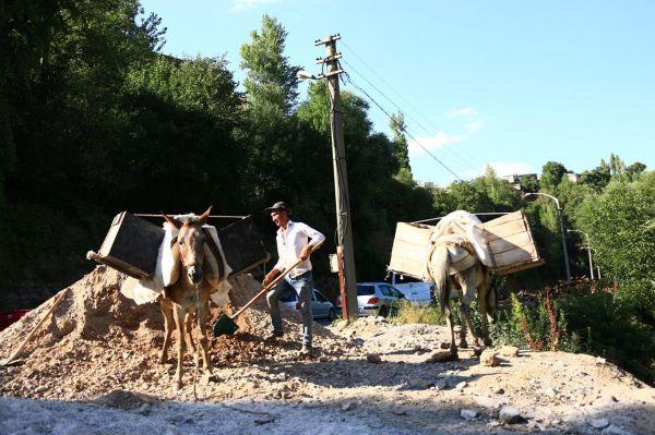 Kanalizasyon yapımı için at sırtında malzeme taşınıyor
