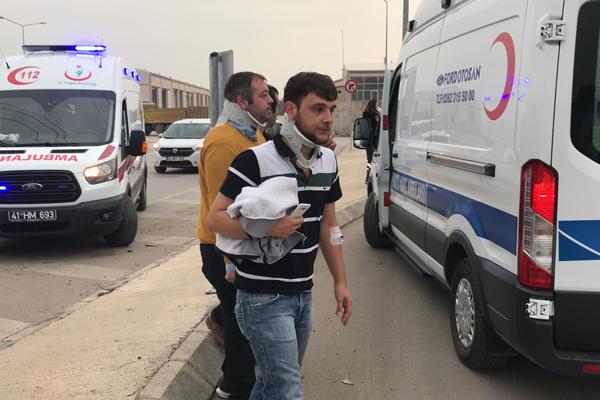 Kocaeli`de işçi servisi ile otomobil çarpıştı: 16 yaralı