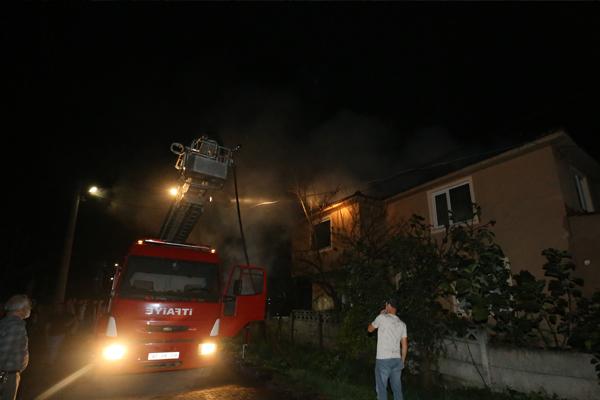 Evde çıkan yangın hasara sebep oldu