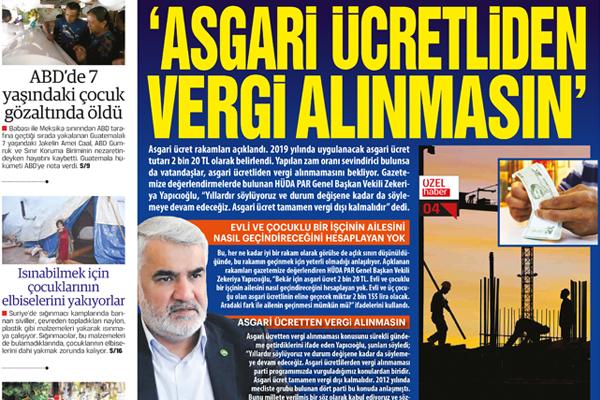 'ASGARİ ÜCRETTEN  VERGİ ALINMASIN'