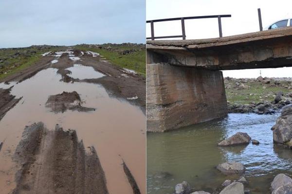 Köylülerden çamurlu yol ve dökülen köprü tepkisi