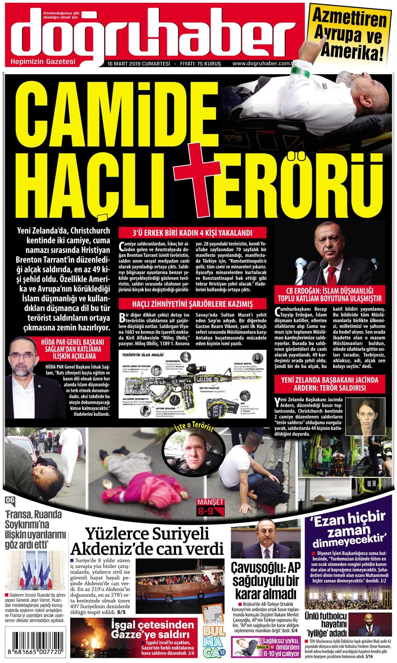 yeni zelanda camiye haçlı terör saldırısı