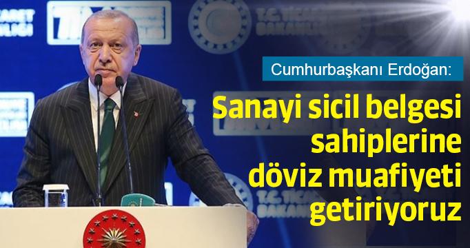 Erdoğan: Sanayi sicil belgesi sahiplerine döviz muafiyeti getiriyoruz