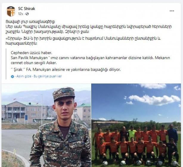 Ermeni futbolcu savaşta öldürüldü