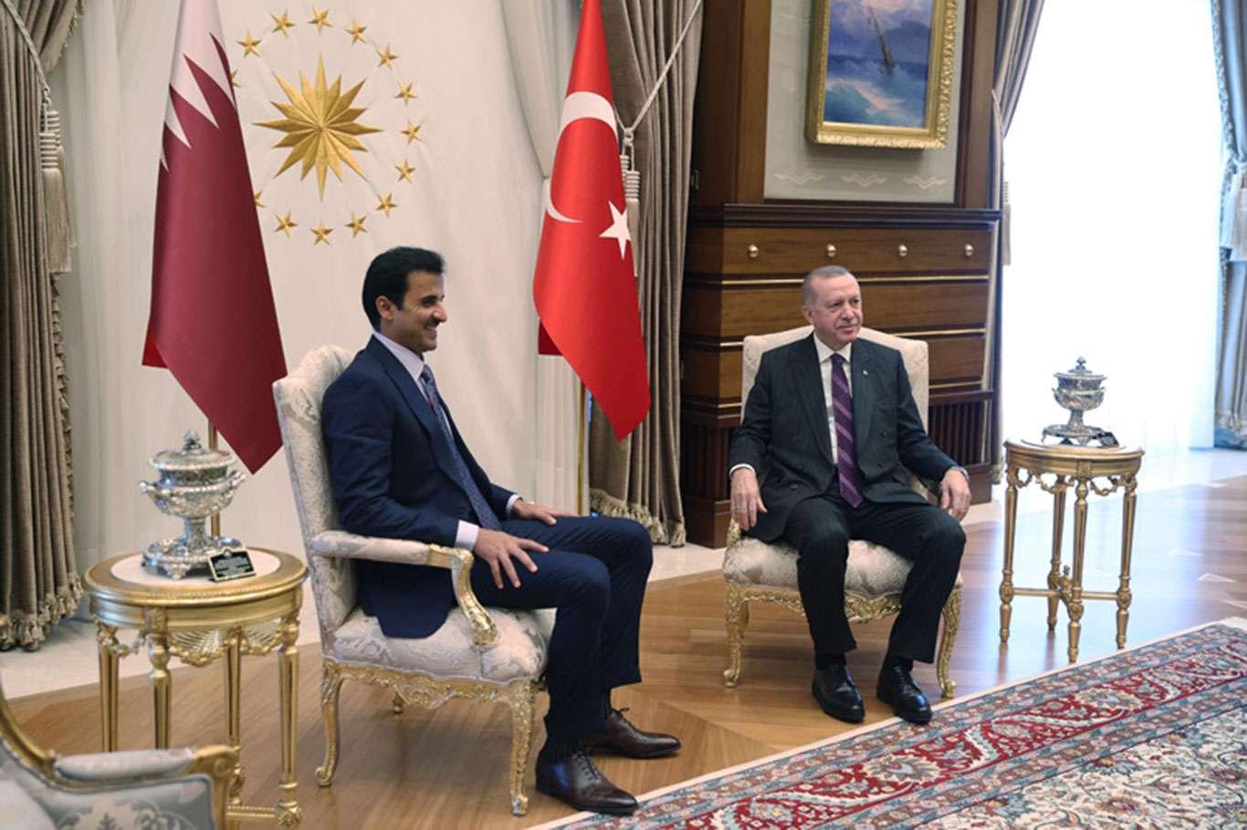 Qatar Emir Sheikh Tamim welcomed by Erdoğan at the Presidential Complex