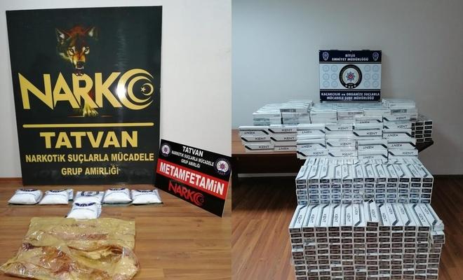 Bitlis'te uyuşturucu ve gümrük kaçağı sigara ele geçirildi
