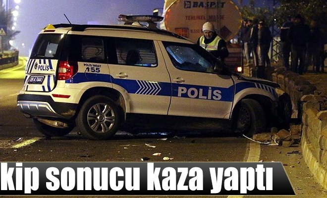 Aydın`da polis aracı kaza yaptı