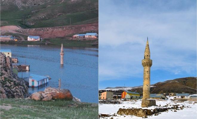 Barajın suyu çekilince eski yapılar gün yüzüne çıktı