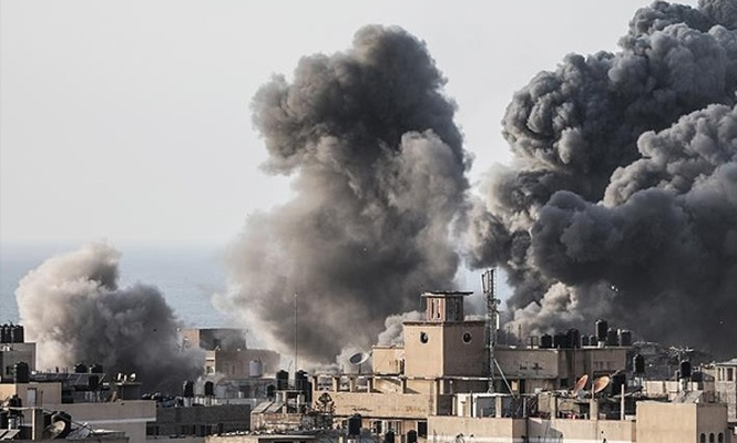 İşgal rejiminden Gazze`ye hava saldırısı