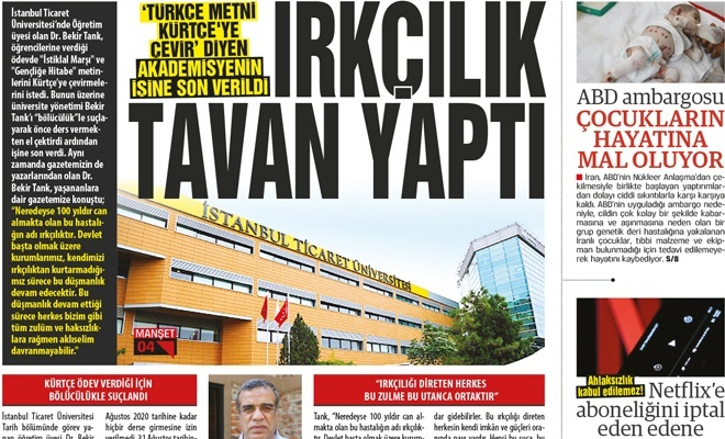 'Türkçe metni Kürtçeye çevir' diyen akademisyenin işine son verildi! IRKÇILIK TAVAN YAPTI
