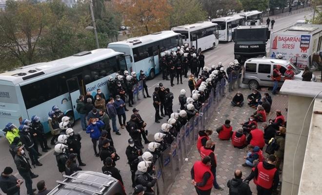 İşçilerin izinsiz eylemine polis müdahale etti