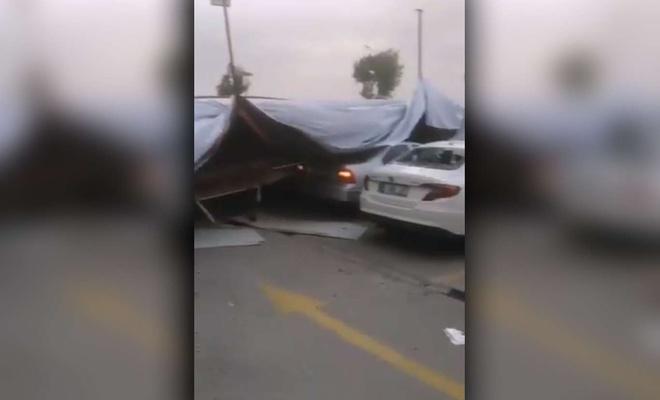 Denizli'de kum fırtınası: Ağaçlar devrildi, tabelalar ve çatılar uçtu