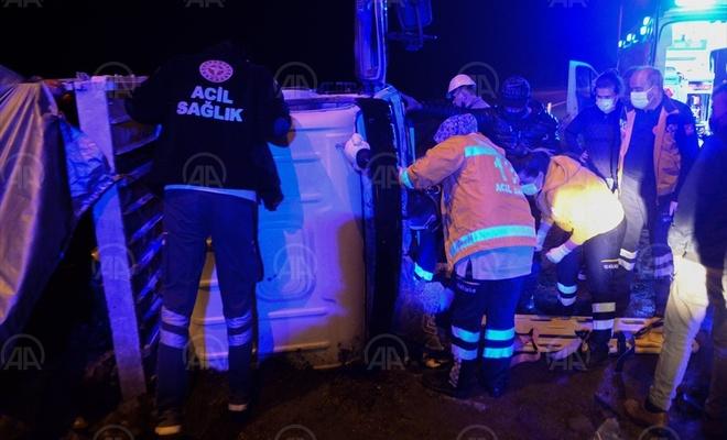 Kahramanmaraş'ta devrilen aracın sürücüsü yaralandı