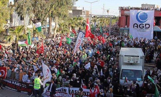 İncirlik Hava Üssü'ne yürüyen STK'lar siyonist işgal rejimini protesto etti