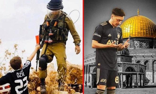 Mesut Özil formalı çocuk, zalim Siyonistlere kırmızı kart gösterdi