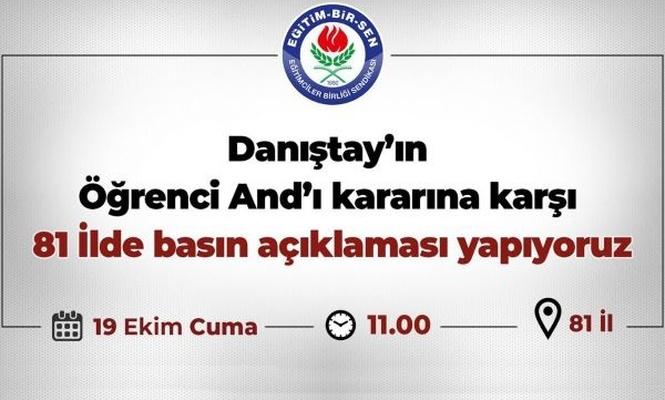 Öğrenci Andı kararı 81 ilde protesto edilecek
