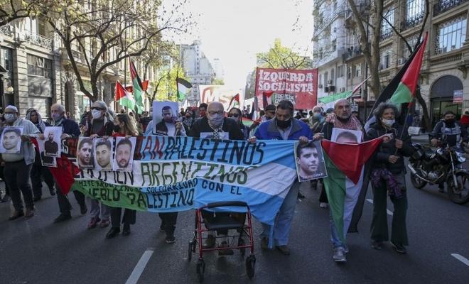Arjantin'de Filistinli mahkumlara destek, Siyonistleri protesto gösterisi