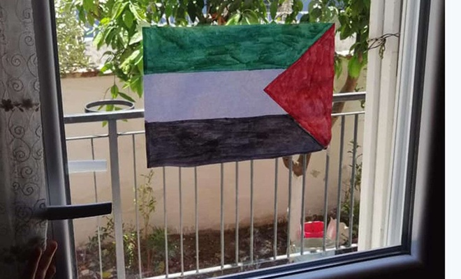 Beşinci sınıf öğrencileri Filistin bayrağı çizerek Kudüs'e sahip çıktı