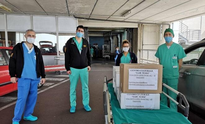 İtalya'daki Said Nursi Camii'nden sağlık çalışanlarına yemek hizmeti