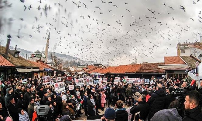 Saraybosna`da Filistin`e destek mitingi