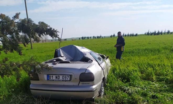 Dört takla atan araçta hafif sıyrık alarak kurtuldu