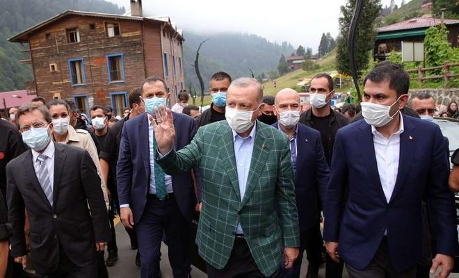 Erdoğan, Rize-Artvin Havalimanı inşaatı ile Ayder Yaylası'nda incelemelerde bulundu