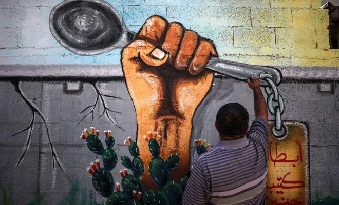 İşgal zindanlarından kaçmayı başaran Filistinlilerin yüzleri duvara resmedildi
