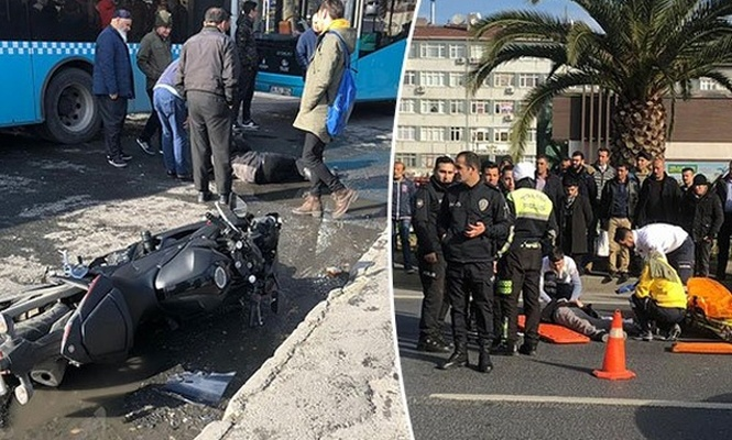 İstanbul`da sürat motosikleti yayaların arasına daldı