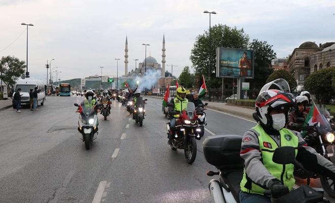 Motorcular bu kez motorlarını 'Filistin Zaferi' için sürdü