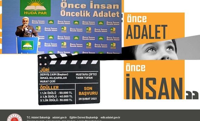 Adalet Bakanlığının film yarışmasında kullandığı tema HÜDA PAR'ın sloganını anımsattı