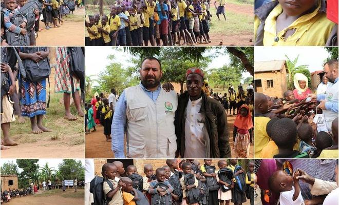 Uganda'da yardım çalışması yürüten Avrupa Yetim Eli çocukların da yüzlerini güldürdü