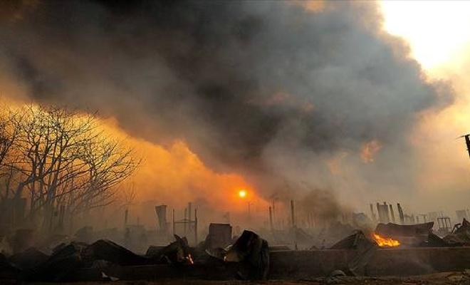 Müslümanların kaldığı kampta yangın