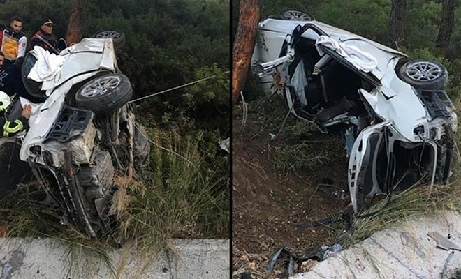 Aydın'da otomobil takla attı: 2 ölü, 1 yaralı