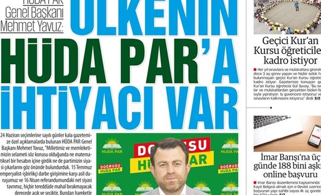 Mehmet Yavuz: ÜLKENİN HÜDA PAR`A İHTİYACI VAR