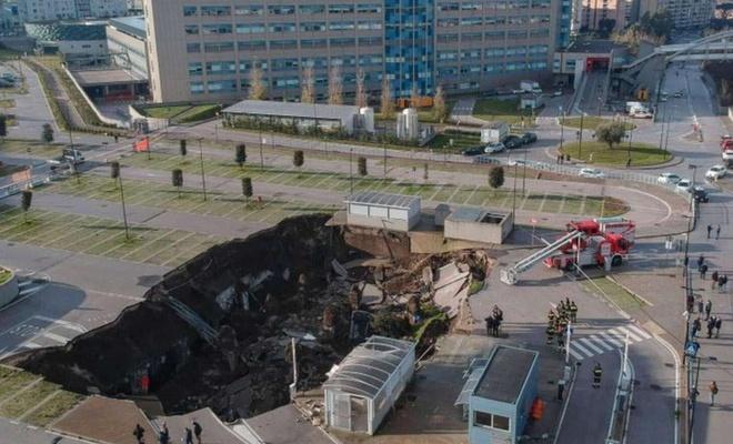 İtalya'da hastane otoparkındaki patlama büyük bir çukur oluşturdu