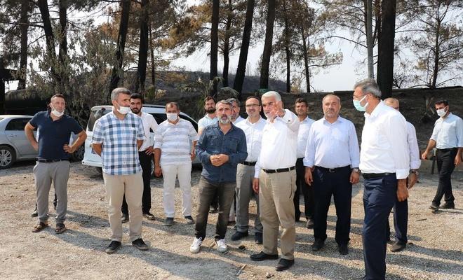 HÜDA PAR Genel Başkanı Yapıcıoğlu orman yangınlarının yaşandığı bölgeyi ziyaret etti