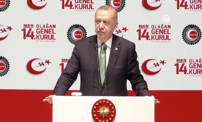 Erdoğan Hak-İş Genel Kurulunda konuştu