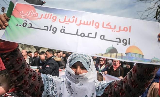 Gazzeli kadınlardan ABD'nin sözde barış planı karşıtı gösteri
