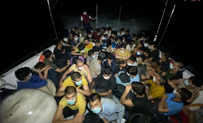 Bodrum açıklarında 63 düzensiz göçmen yakalandı
