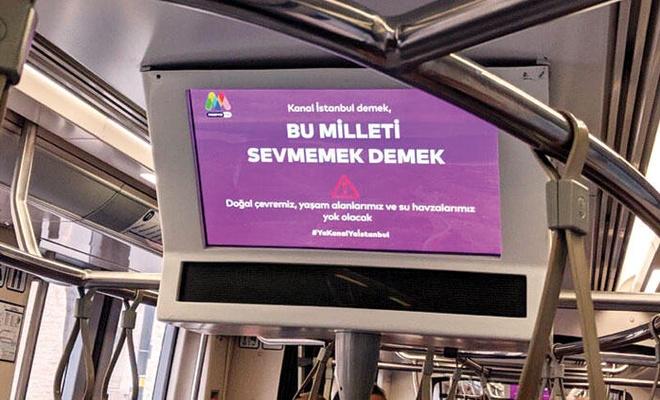 Toplu taşımada Kanal İstanbul karşıtı yayın