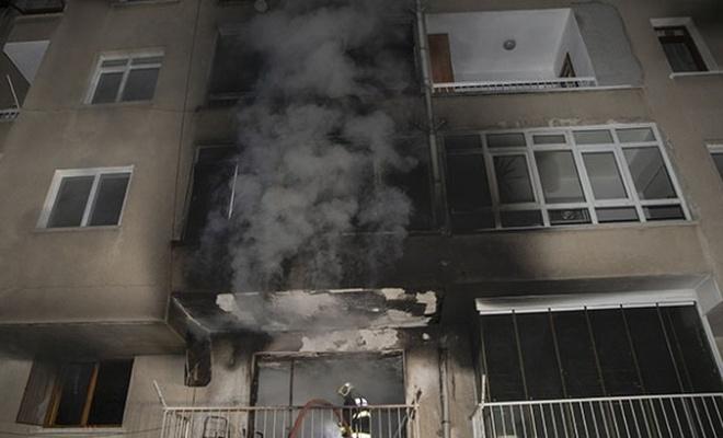 Ankara'da alevlerin arasında kalan kadın balkondan atladı